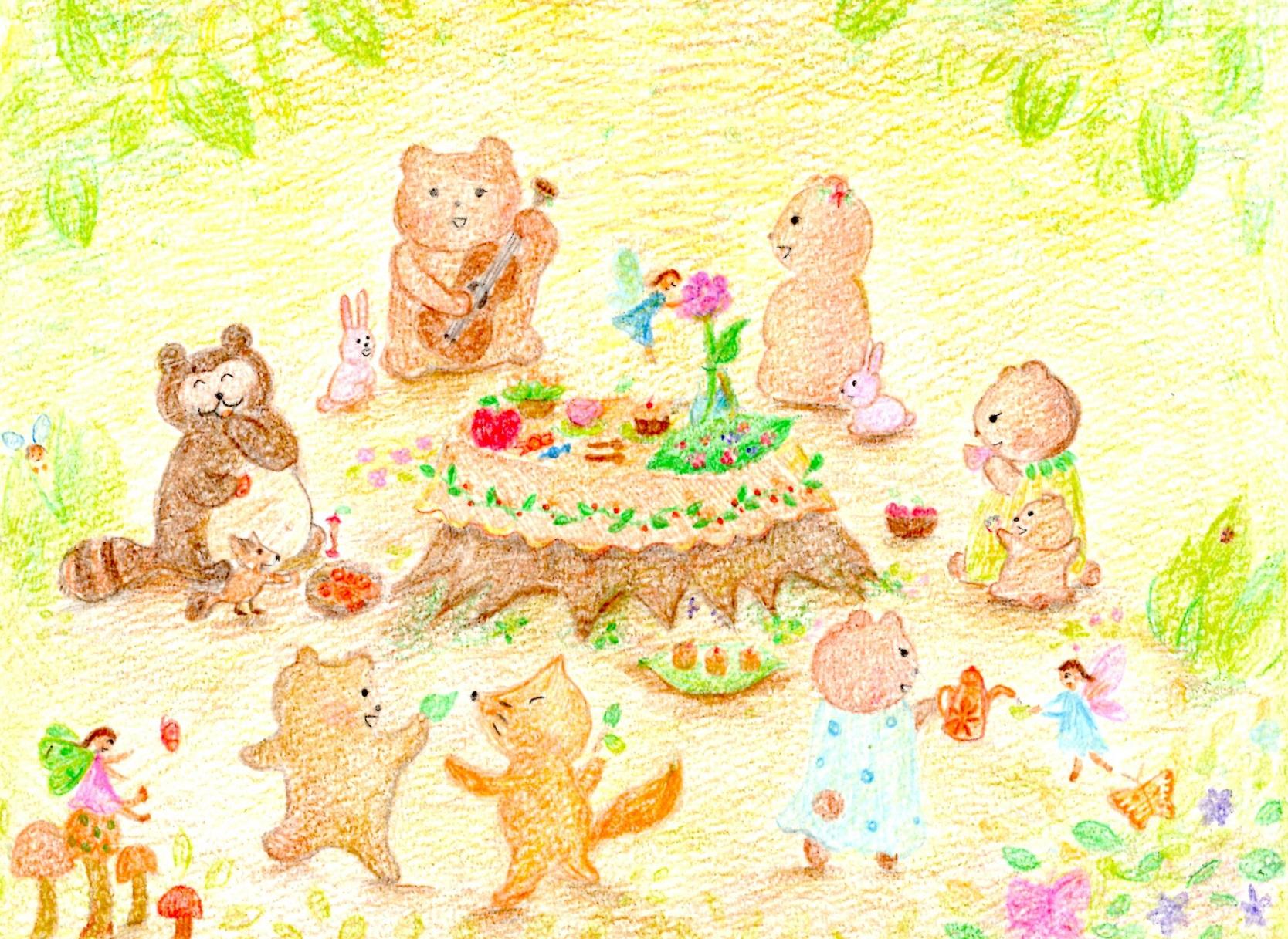 枇杷の木の下で妖精茶会
